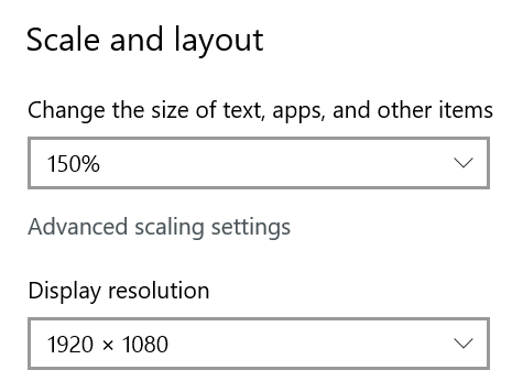 Screenshot of the Windows display settings dialog showing scale and resolution settings