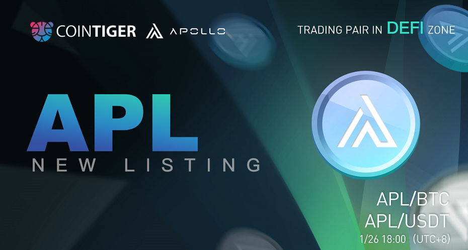 APL/BTC & APL/USDT Will be Available on CoinTiger at 18:00 on Jan 26, 2021.