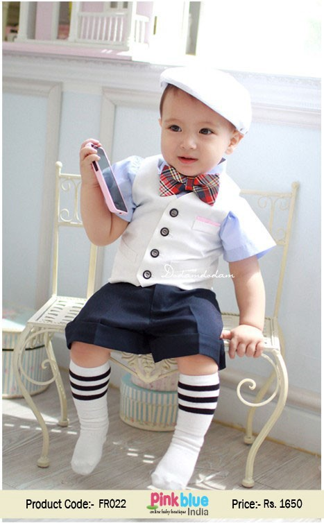 8fa1ef57def9e Most amazing designer 3 piece baby boy formal party dress with navy blue  short pants and matching sky blue shirt with white waistcoat and a cute red  checks ...