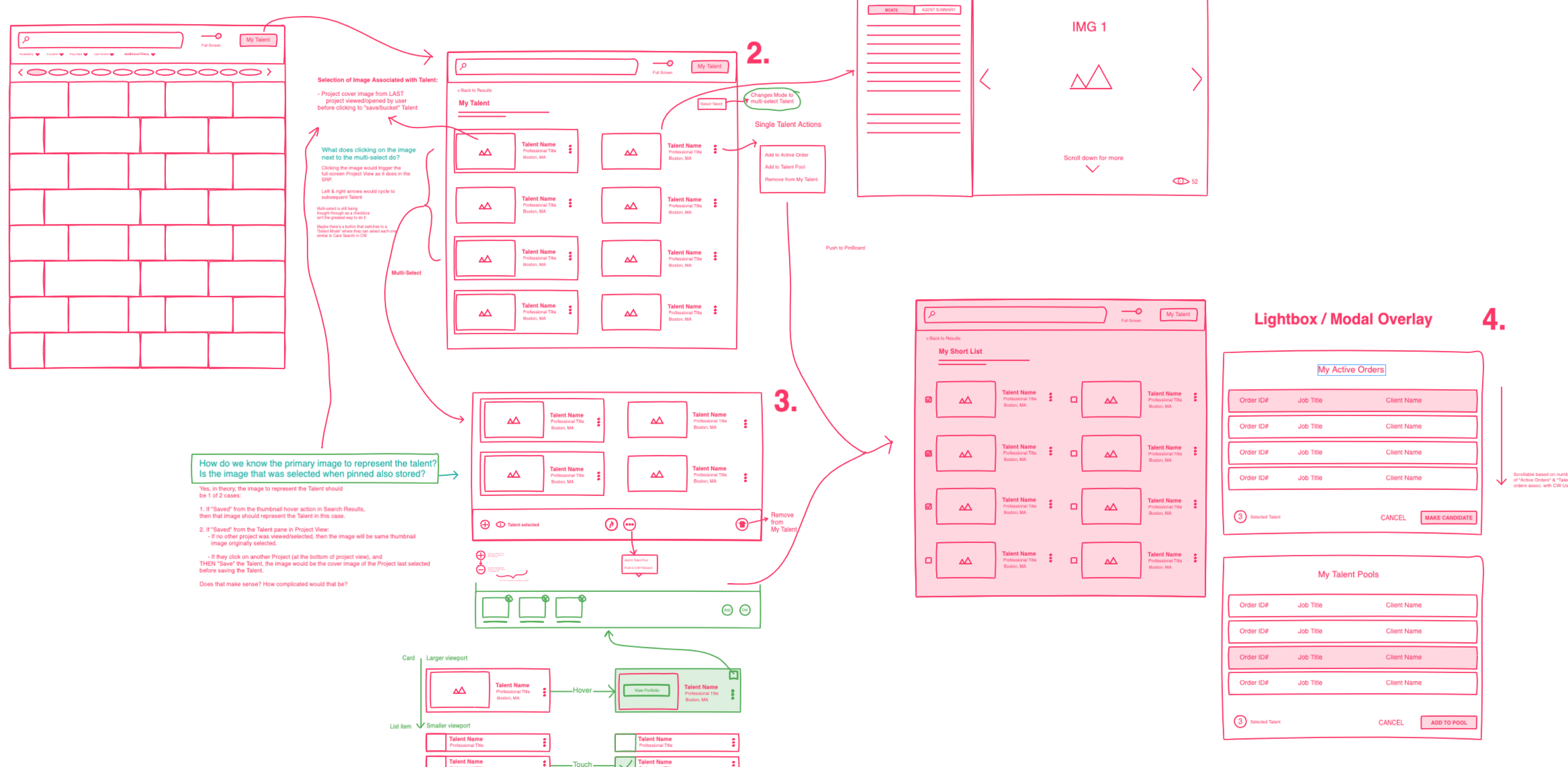 Multiple wireframe sketches of UI concepts.
