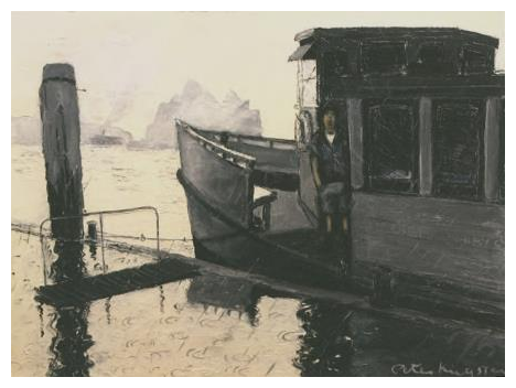 Artist, Peter Kingston, pictured as a rope thrower on the Hegarty's Ferry, 'Leura', moored against a rain slick Circular Quay
