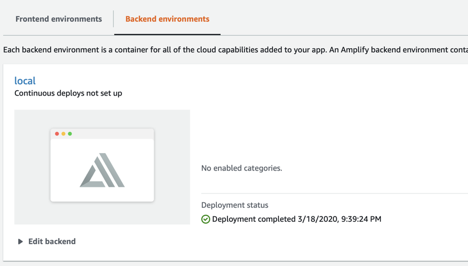 After you create a new amplify project, the console should display no backend environments