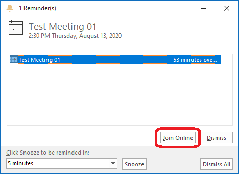 Microsoft Teams Outlook appointment reminder join online button circled