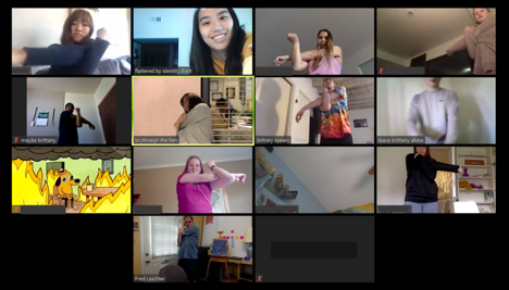 Images of participants stretching on Zoom