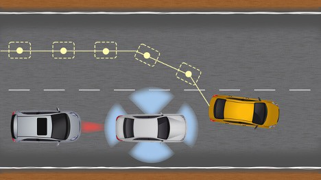 Yellow car cut-in front of an ego-vehicle traveling same direction in the adjacent lane