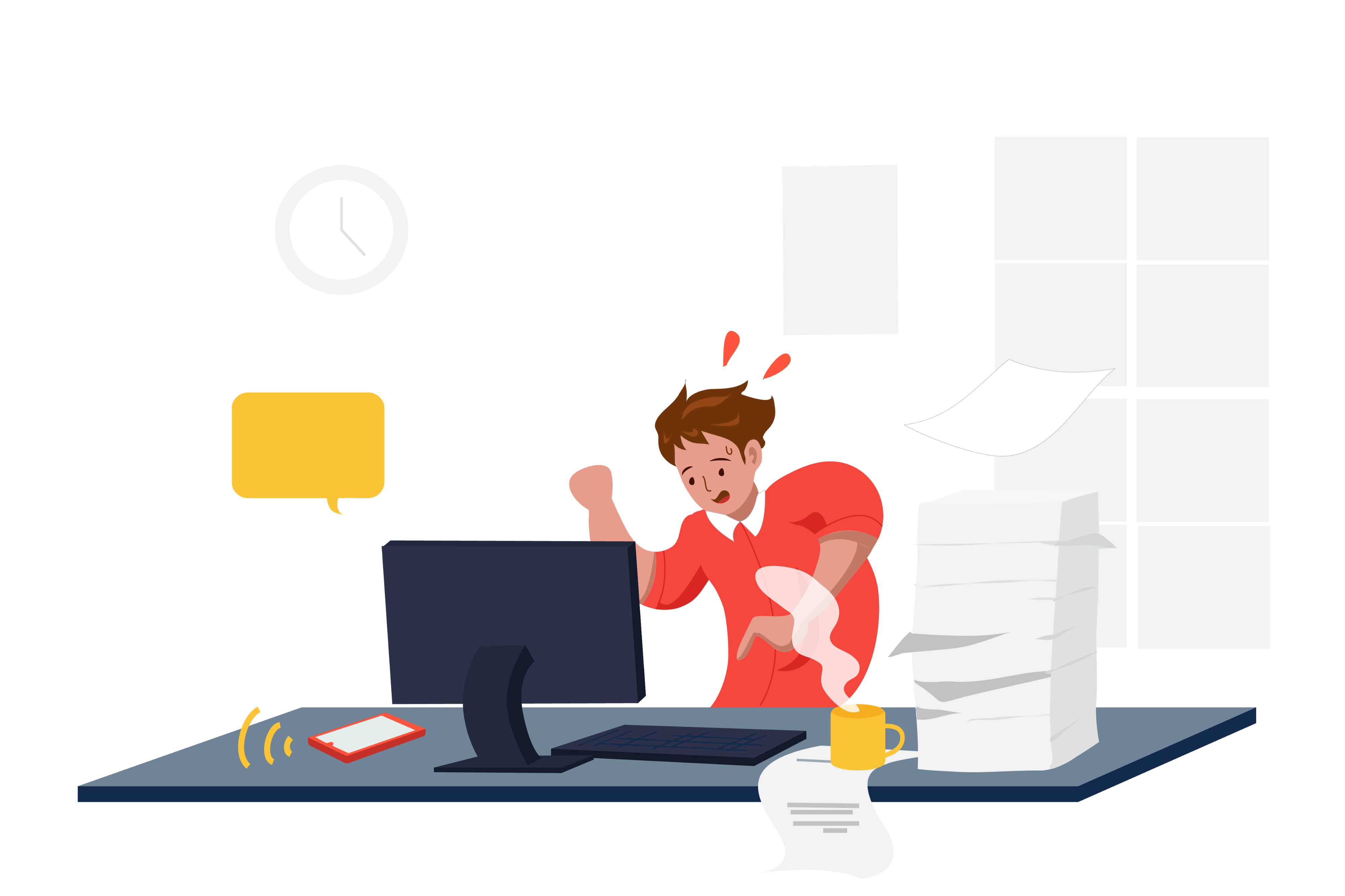 Illustration of a person who is hurriedly typing away at a computer