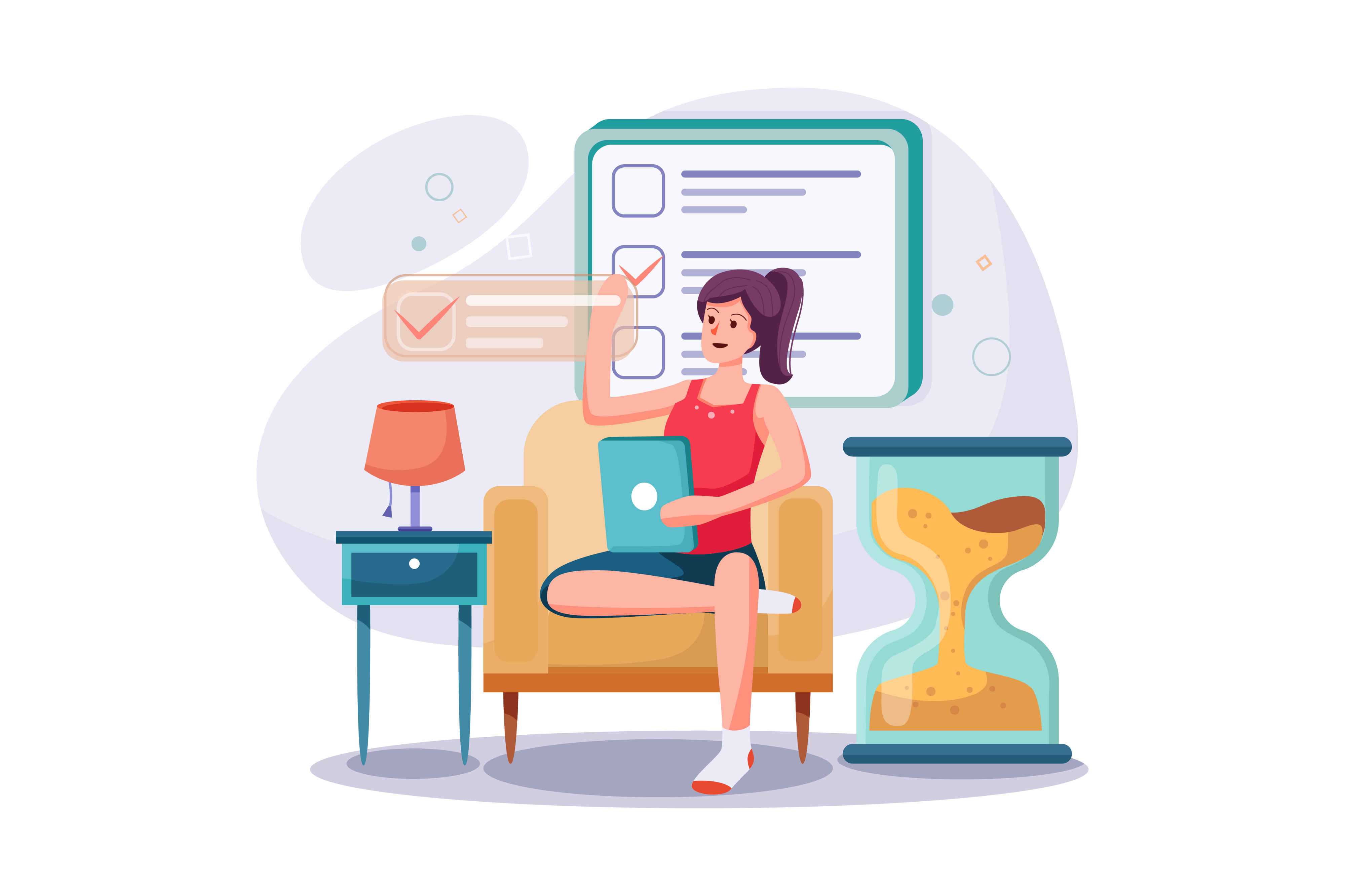 Illustration of a person sitting on a couch and brainstorming a checklist
