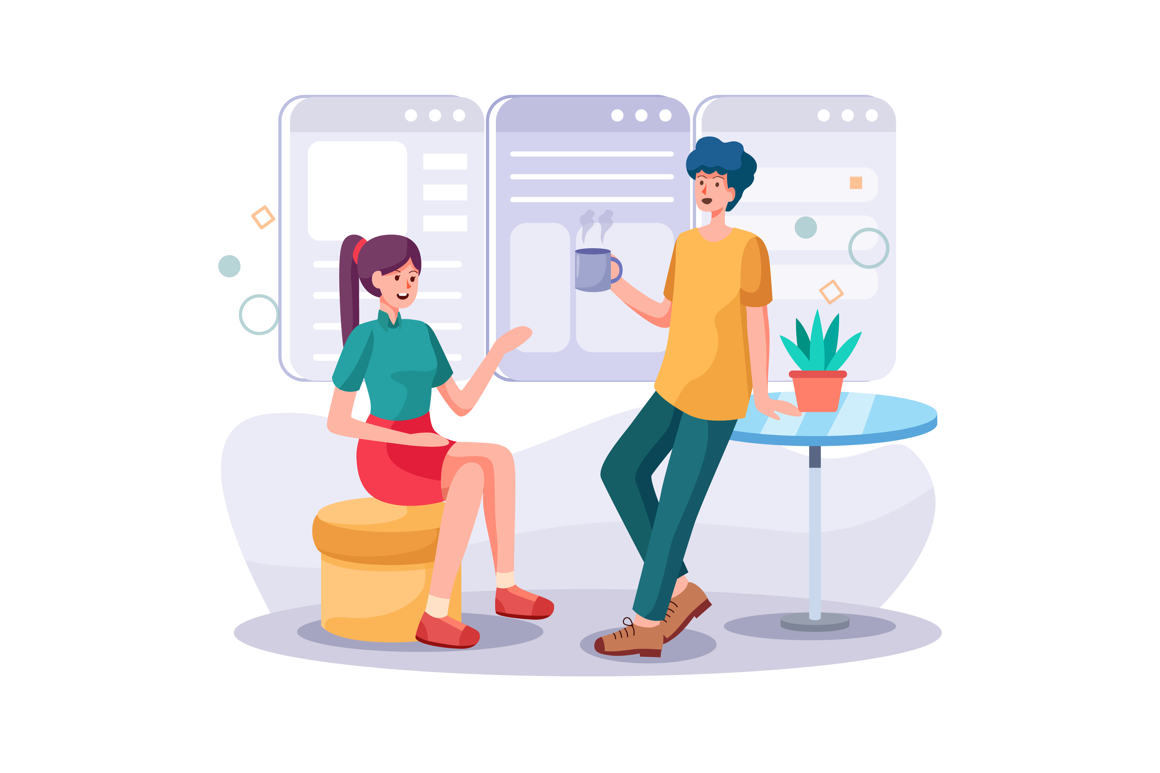 Illustration of two people chatting and collaborating over coffee