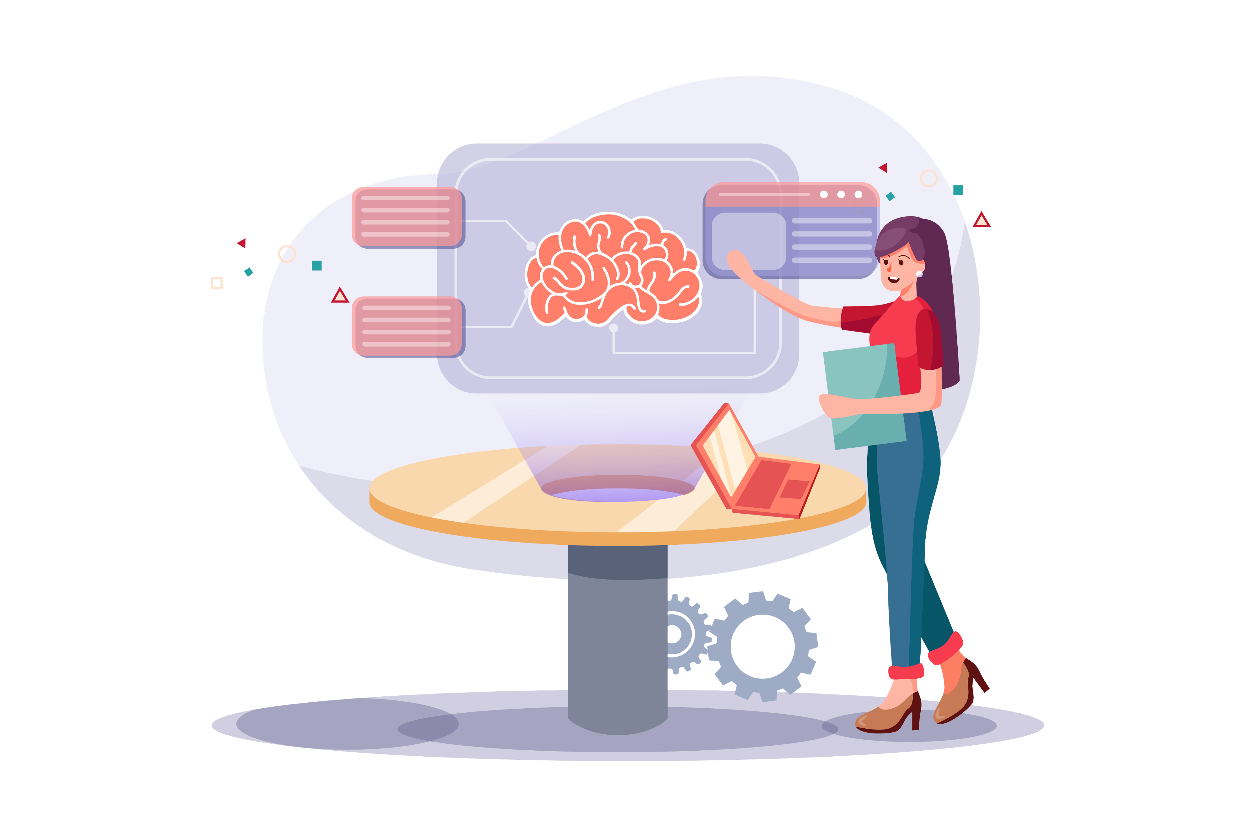 Illustration of a person presenting a concept that shows a brain and some annotations