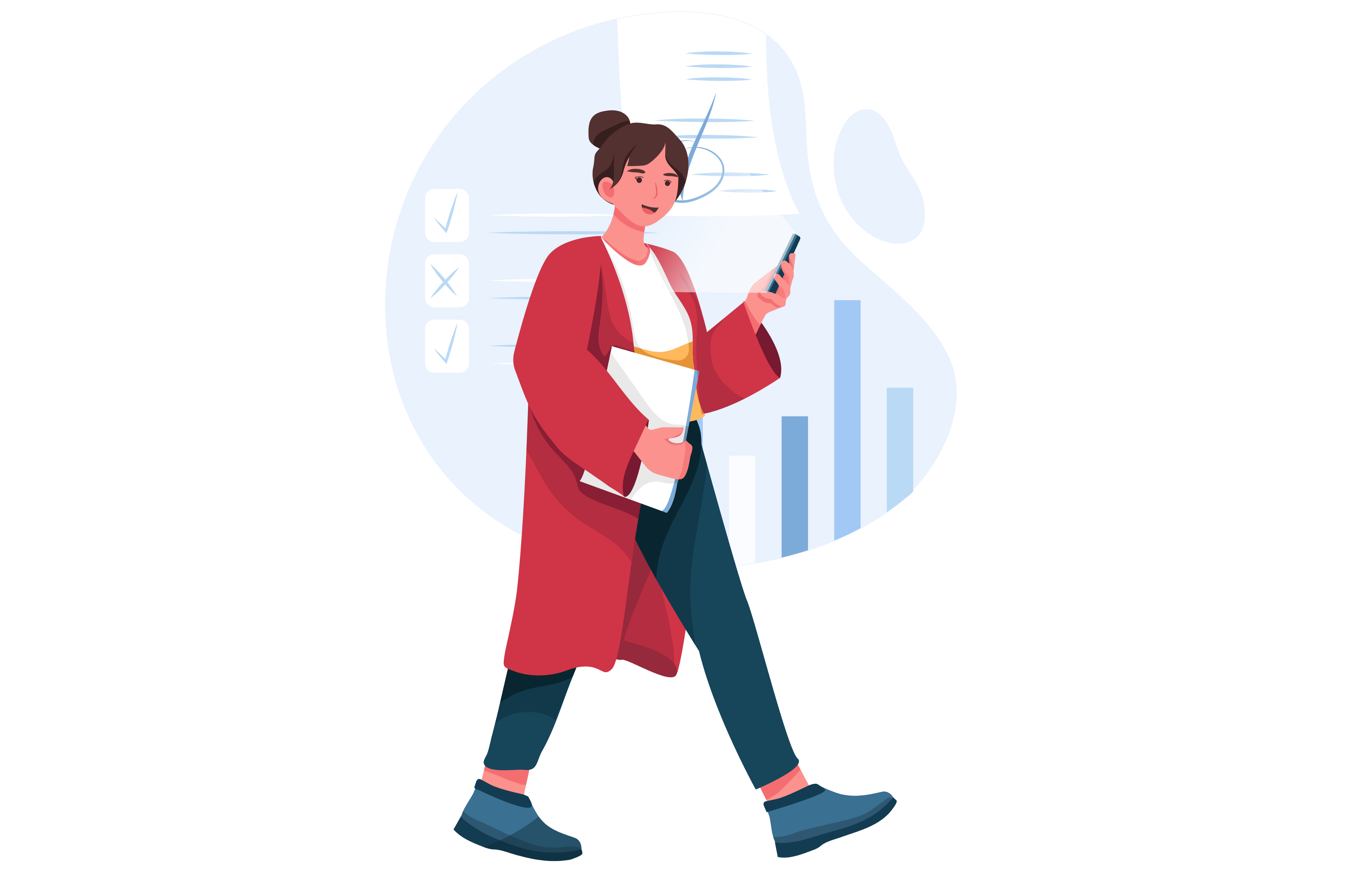 Illustration of a person walking with a phone in hand and paper in another