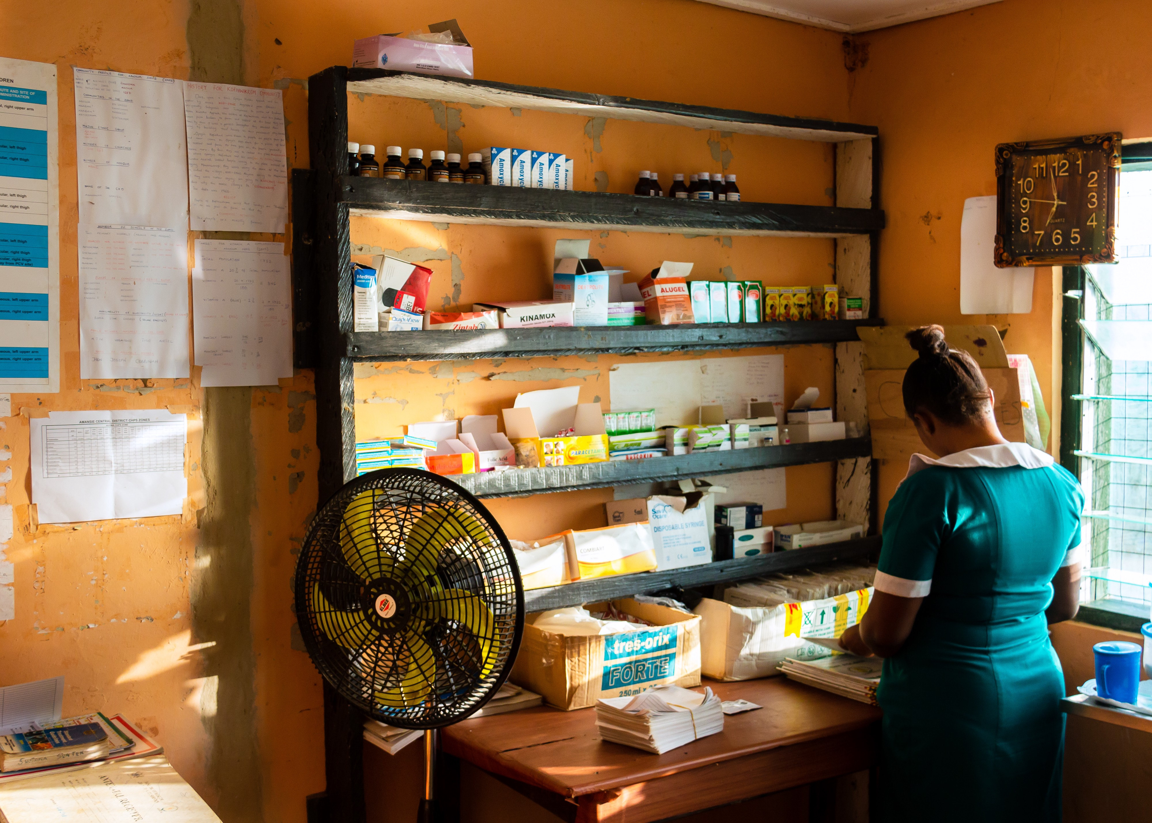 Susana working in the health center.