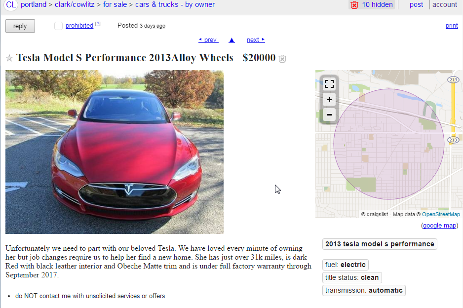 Tesla Scam On Craigslist — a How-To Guide - Peder Halseide