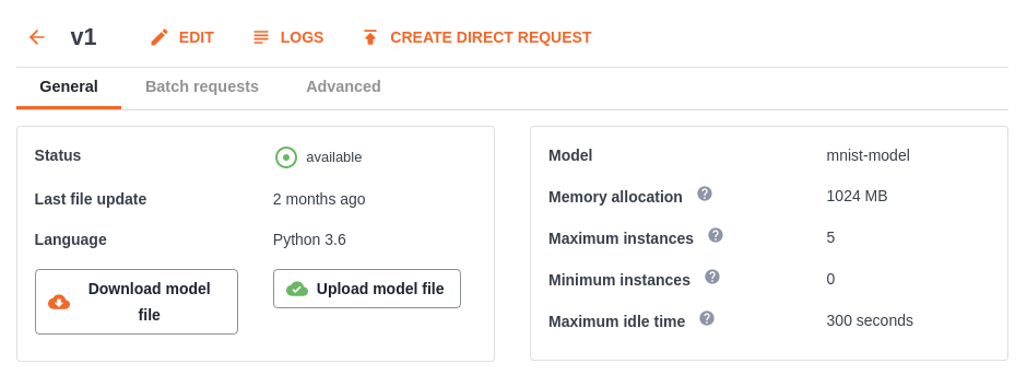 model version page in UbiOps