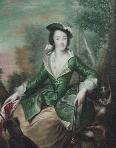 Catherine painted in a green riding habit with an open neckline. Her dark hair is tied back with a ribbon.
