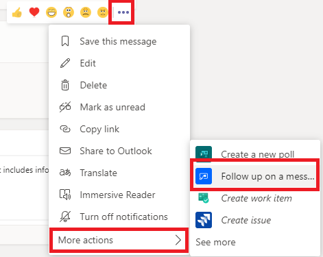 Microsoft Teams follow up on a message button