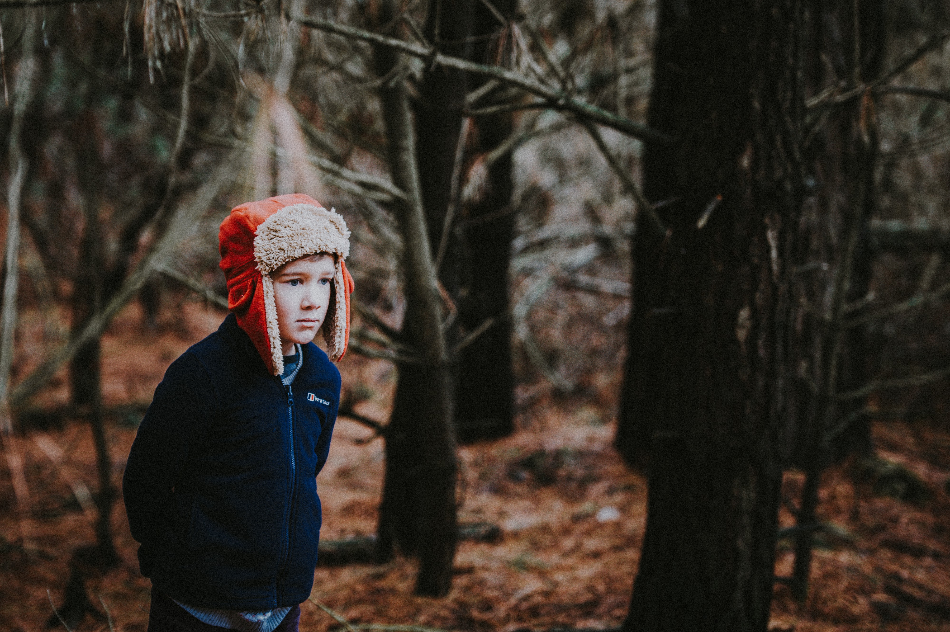 A boy alone in the forest