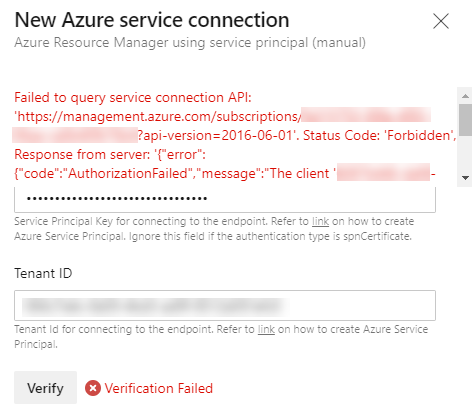 Image showing the result of validating the connection from Azure DevOps to Azure