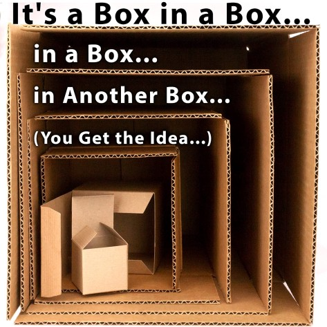 "One big box with many smaller boxes inside and text saying ""it's a box in another box"""