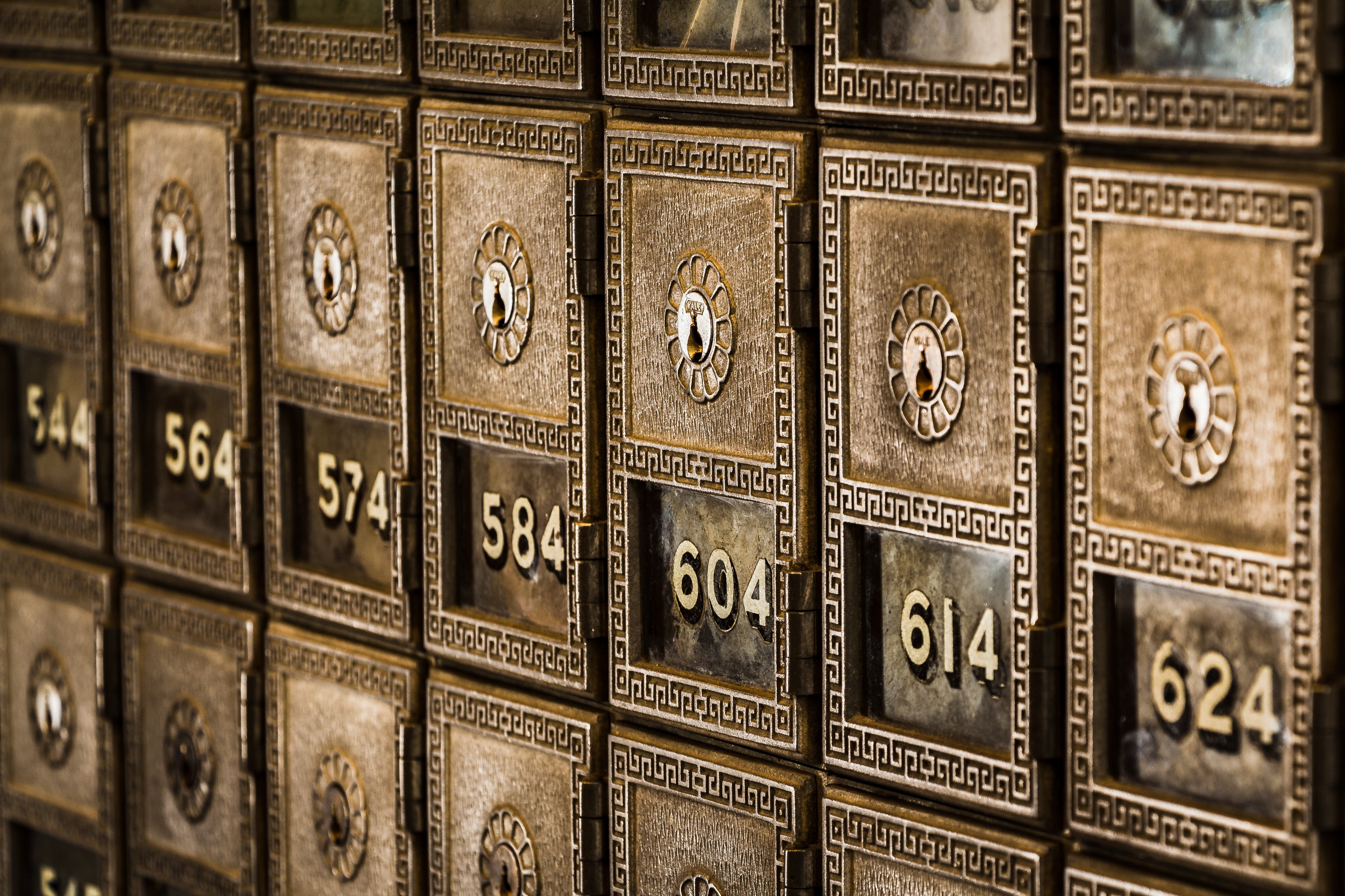 Old Safety Deposit Boxes in a bank