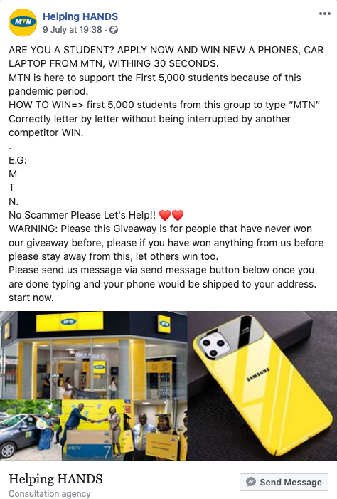 False This Page Offering Covid 19 Giveaways From Mtn Is Fake By Pesacheck Pesacheck