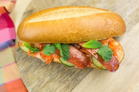 True Story Bahn Mi Sandwich with True Story Organic Uncured Beef Hot Dogs