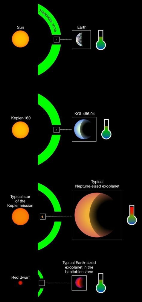 A chart showing how KOI-456.04 is near the middle of its habitable zone, as is the Earth.