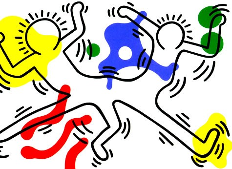 Pop art painting of two connected people by Keith Haring.