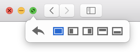 Window buttons hover options in Moom, with a restore option