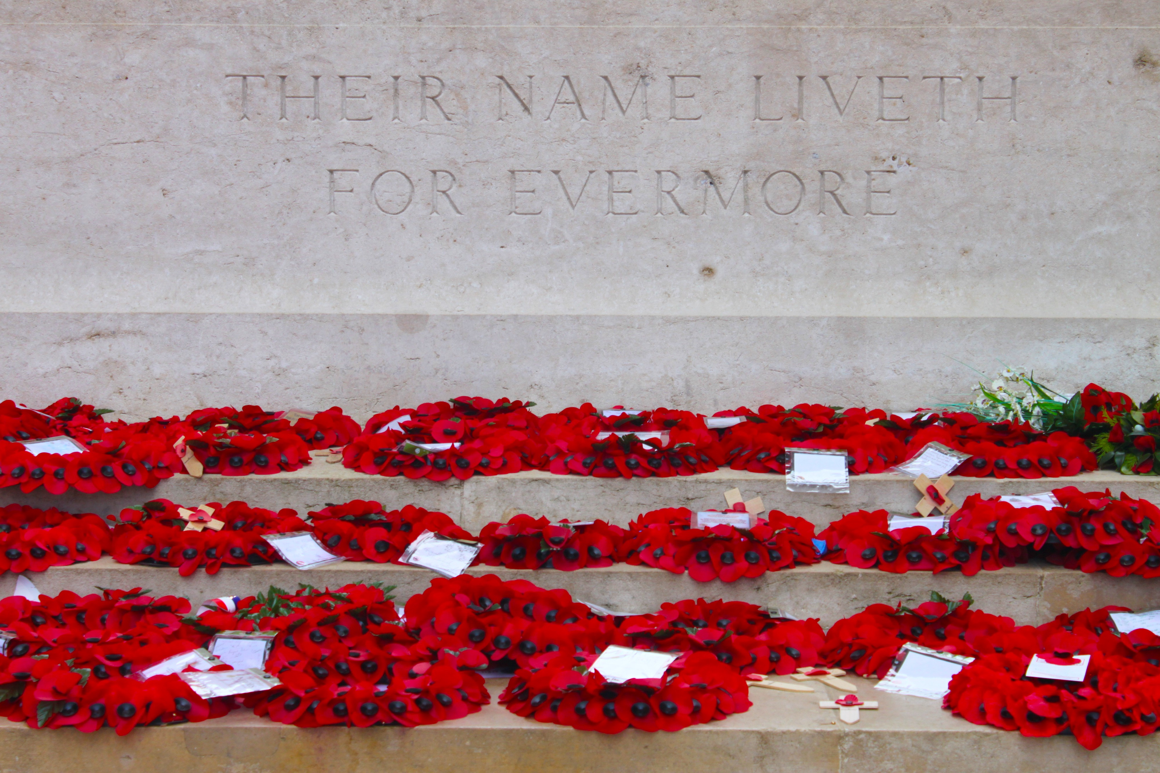 """Memorial Day poppy wreaths shrewn and laid in front of the engraved wall """"Their Name Liveth For Everyone""""."""