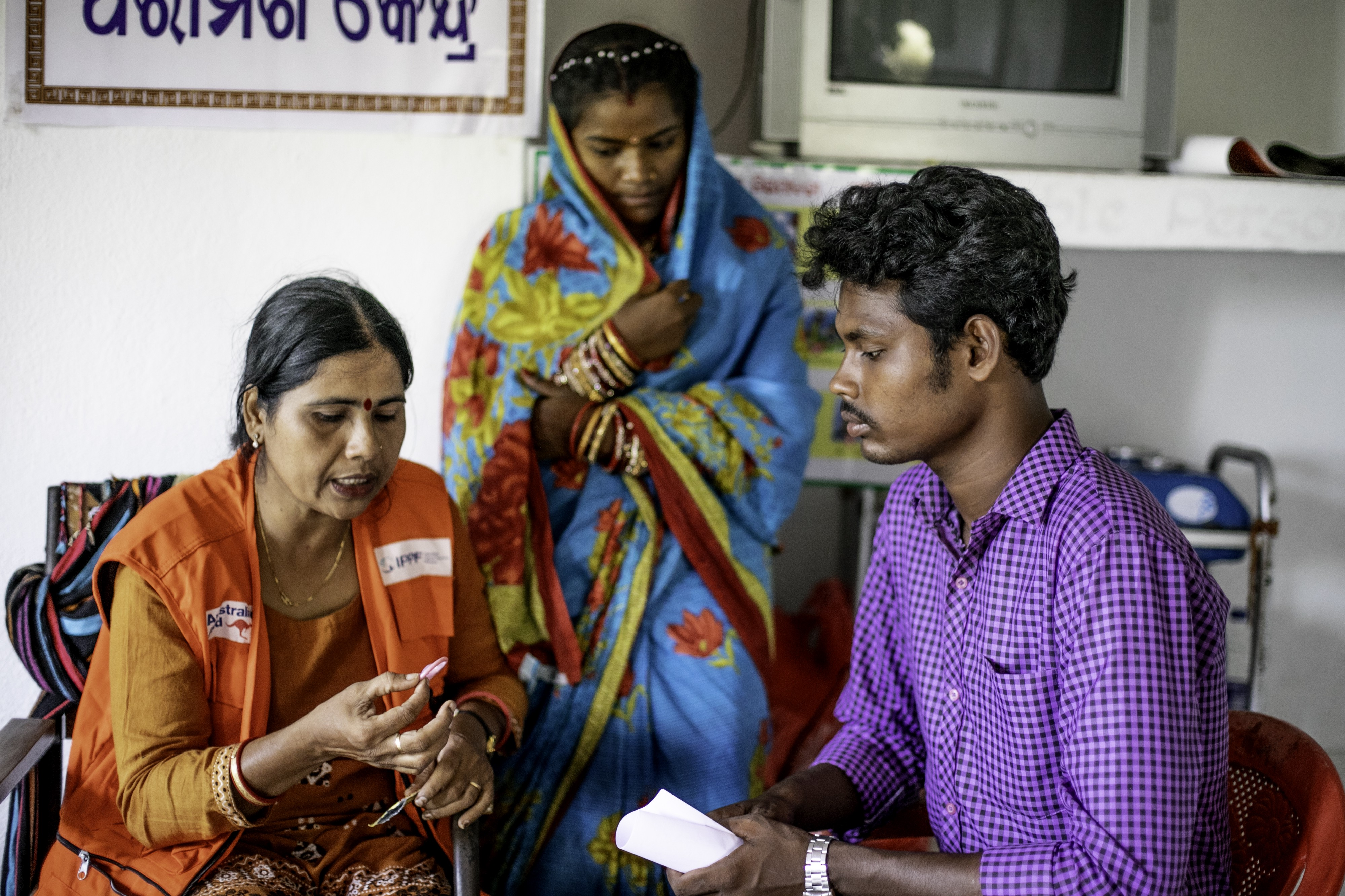India — newlywed attend a clinic for advise on contraception after Cyclone Fani.