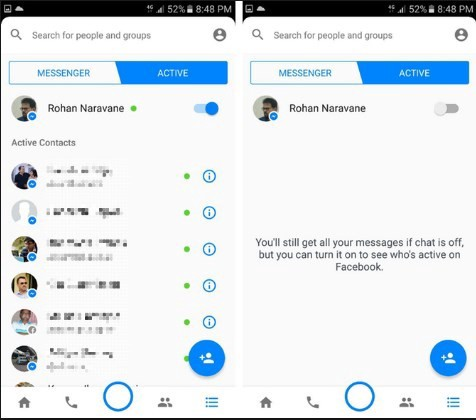 Screenshot of Facebook Messenger with chat function turned off