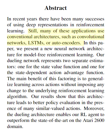 Archived Post ] Dueling Network Architectures for Deep Reinforcement