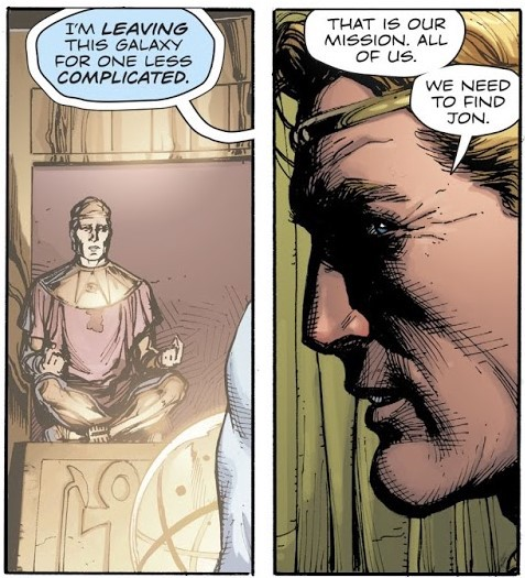 "Flashback of Dr. Manhattan: ""I'm leaving for a less complicated universe."" Ozymandias: ""Ok. Let's go there."""