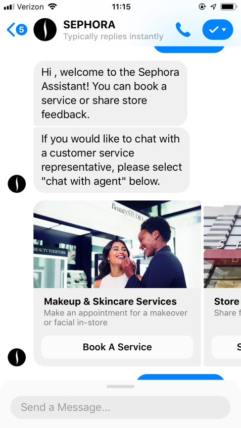Chat-bot example by Sephora