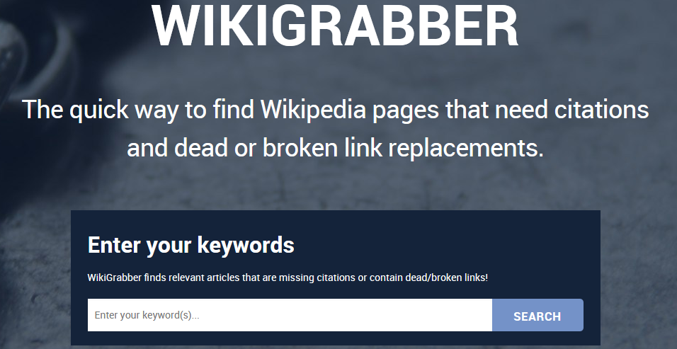 Backlinks from Wikipedia, Wikigrabber the easiest way to find dead links