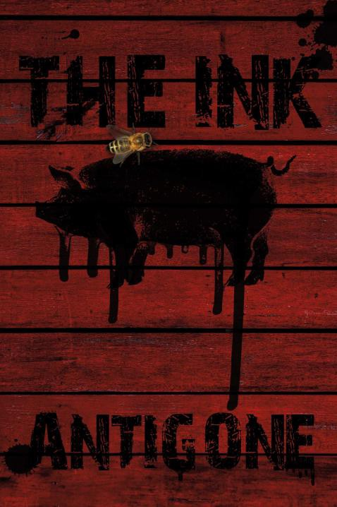 Red Image of a black pig with a superimposed bee.