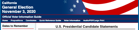 Header of California Secretary of State website of U.S. Presidential Candidate Statements