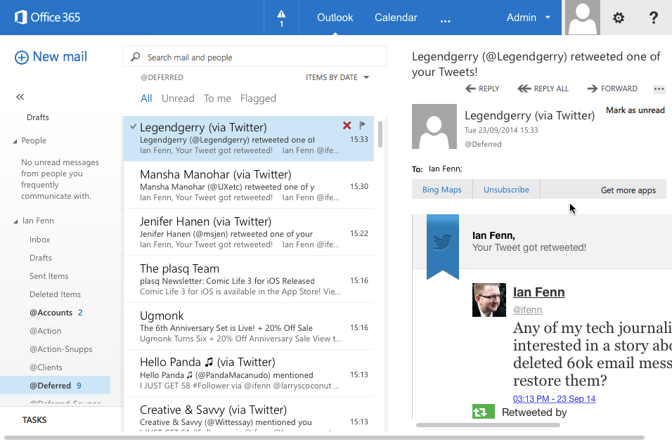 Dear Office365, Can I have my 60,000 email messages back?