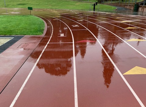 A rainy morning track workout at Kezar Stadium in San Francisco