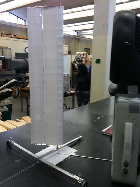 The final rigid wing sail on the testing rig
