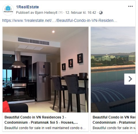 Property listing on Facebook