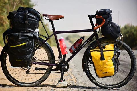 A fully loaded touring bicycle.