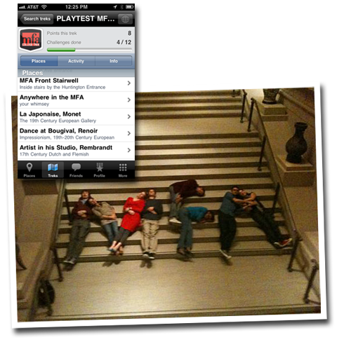 Players lying on stairs making the shape of the letters M F A