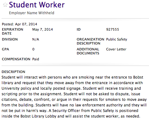 Only YOU Can Prevent Bobst Smokers (If You Apply For This