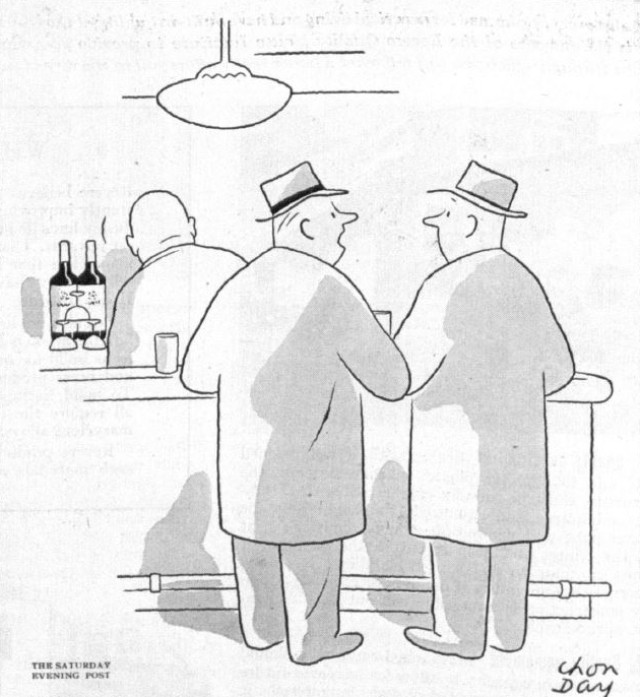 Two men in a bar