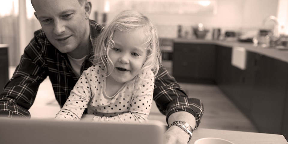 """""""Internet Safety for kids"""", father and daughter on computer"""