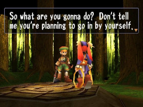 A screenshot from the game showing a cutscene moment, where Mint and Rue, the two playable characters in the game, are having a discussion in a wooded area.