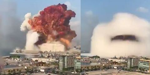 Screen capture of explosion in Beirut. August 2020.