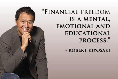 A picture of Robert Kiyosaki with a quote saying Financial freedom is a mental, emotional and educational process.