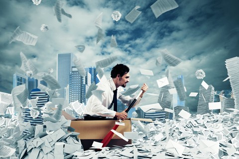 Photo about Concept of bureaucracy with man paddling in a sea of sheets. Image of overworked, heap, difficult